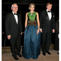 Joined by King Willem-Alexander, right, and Australian Prime Minister Malcolm Turnbull, left, Queen Maxima looked stunning in a colour block silk dress as she attended a special performance at the Sydney Opera House. <br><br>Photo: Getty Images