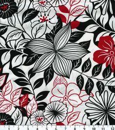 Keepsake Calico Fabric-Lg Flowers Blk Wht Red