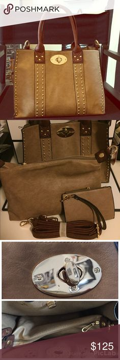 "Cape Cod Boutique Leather Tote bag Brand New beautiful Tan leather bag from an exclusive Martha's Vineyard Boutique. Retails $199. Impulse buy last week while on vacation. Measures 13 X 6 X 10. Handles approx 6 in. Includes extra long straps to create cross body or shoulder bag. Also comes with leather inner bag (11.5x8"") and leather coin purse. Offers welcome. Small imperfection on gold hardware next to the clasp. See photo. Ships next day! Bags Totes"