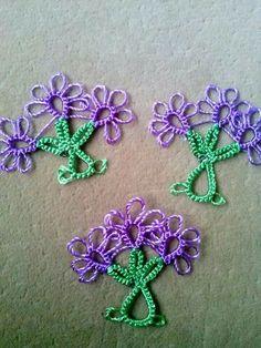Tatted flower motifs #tatting #lace #flower