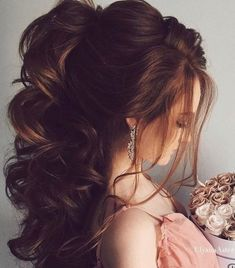 Wedding Hairstyles For Black Women Half Up Bridesmaid Hair Ideas Wedding Hairstyles Half Up Half Down, Wedding Hairstyles For Long Hair, Fancy Hairstyles, Wedding Hair And Makeup, Bride Hairstyles, Down Hairstyles, Bridal Hair, Hairstyles 2016, Latest Hairstyles