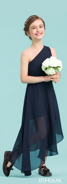 Have your girl looking and feeling fabulous in this modern, one-shoulder junior bridesmaid dress featuring pleating details through its waistband and shoulder strap. Formal Wear, Formal Dresses, Affordable Dresses, Junior Bridesmaid Dresses, Wedding Party Dresses, Special Occasion Dresses, Dress Making, Omega, Jr