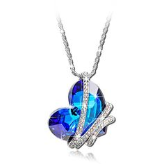 50% OFF SALE PRICE - $22.99 - Qianse Heart of the Ocean Swarovski Crystal Pendant Necklace