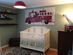 SALE - Triptych Fire Truck painting- Pottery Barn Kids Inspired. $160.00, via Etsy.