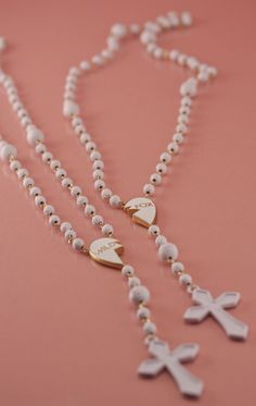 Matte white rosary friendship necklace <3