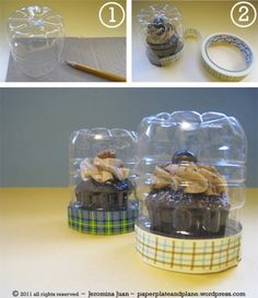 Recycle water bottle into food container.