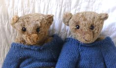 Igor is inspired or based off my own old steiff wonky Ferdy. ( pictured with Ferdy  Igor is a slow moving, quiet little bear. Not much of a talker ( maybe due to lack of mouth stitching) more of an observer. He's the sort of bear that finds the rabbit tail in the field and the four leaf clover in the grass. Igor also has one of the worlds largest collections of pet rocks, all named Roger. Igor is made from mohair/alpaca fabric, that has been hand dyed.
