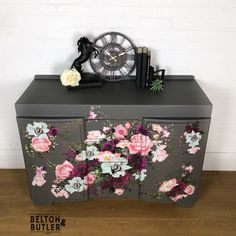 Solid Wood Mid Grey Floral Sideboard