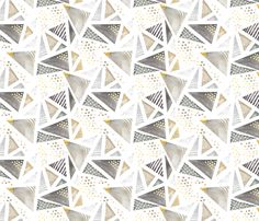 Geo Watercolor in Neutral Gold LARGE fabric by emilysanford on Spoonflower - custom fabric