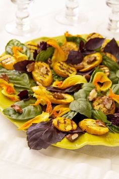 Grilled Summer Squash with Purple Basil Salad