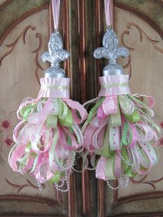 Pretty Green and Pink Pair of French Fleur de Lis Ribbon Curtain Tassels Decoration