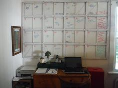 DIY Window from neighbor's garage turned into a whiteboard calendar (Credit: Beth Harris)