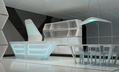 Kitchen and Dining area for TRON designs Corian 8