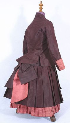 Back view of child's taffeta bustle dress, c.1884, from the Vintage Textile archives.