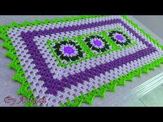 Tapetes em Crochê Retangular com Flores - YouTube