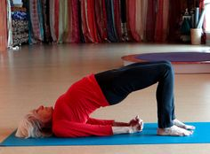 Bridge pose is good for stretching and opening the front body, especially the hips if you have been sitting for awhile. Come to our studio and give it a try.