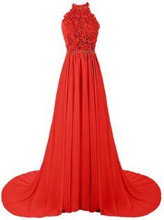 Dresstells® Long Bridesmaid Dress Halter Wedding Dress Chiffon Evening Gown Red Size 2