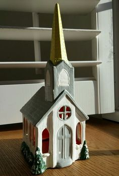 Vintage Hand Painted Christmas House Church Ceramic 1955