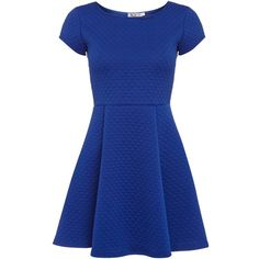 Wal-G Short sleeve waffle skater dress (€15) ❤ liked on Polyvore featuring dresses, vestidos, short dresses, blue, cobalt, sale, blue dress, waffle knit dress, short-sleeve dresses and short-sleeve skater dresses