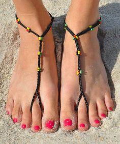 Look at this #zulilyfind! Black & Yellow Irie Mon Barefoot Sandal #zulilyfinds