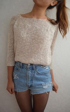Omg this is soo adorable!! Black tights with hight top waist jeans with a beige long sleeve <333