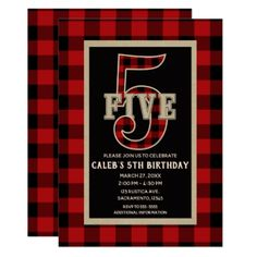Rustic Red Black Buffalo Plaid 5th Birthday Party Card - holiday card diy personalize design template cyo cards idea
