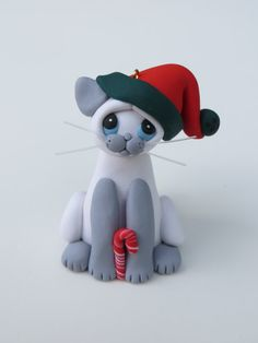 Polymer Clay Siamese Cat Christmas Ornament by HeartOfClayGirl, $16.95