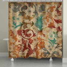 Abstract Art Shower Curtain Contemporary Bathroom Decor Coral Orange Accessories From Original Reef