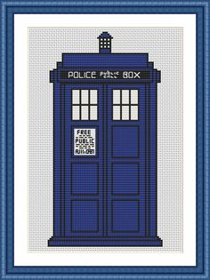 The TARDIS Cross Stitch Kit - Complete Charted Kit - Doctor Who - DMC Materials - 16 Count