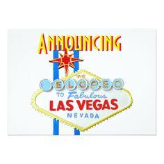 Shop Las Vegas Eloped Wedding Announcement created by Rebecca_Reeder. Vegas Themed Wedding, Las Vegas Weddings, Elopement Announcement, Wedding Announcements, Wedding Invitation Design, Custom Invitations, Dinner Invitations, Elope Wedding, Wedding Reception