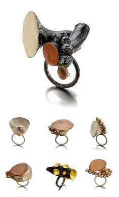 March 2014 | Rings in silver, wood paste, marble powder and pigment by Italian jeweller Daniela Boieri.