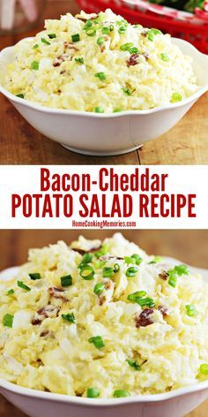 This Bacon-Cheddar Potato Salad recipe features a trio of deliciousness: potatoes, cheese, and bacon! This is a family favorite & always a hit at barbecues, potlucks, and summer parties.
