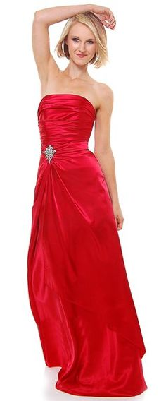 Long Strapless Red Bridesmaid Dress Prom Satin Rhinestone Pleated Bodice $99.99