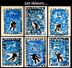Le Journal de Chrys: Nos skieurs Winter Art Projects, School Art Projects, Theme Sport, Olympic Crafts, 6th Grade Art, Jar Art, Middle School Art, Winter Trees, Sports Art