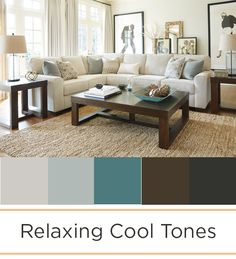 Create a relaxing home with soft cool tones and neutrals. Adding blue, grey and teal to your design makes an inviting and soothing home.