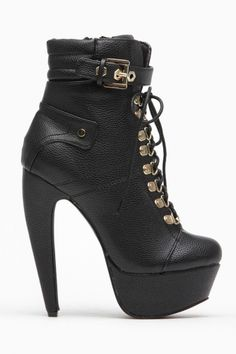 Mona Mia Black Faux Leather Abstract Heel Lace Up Booties