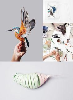 process snapshots from Diana Beltrán Herrera's paper bird sculpture work