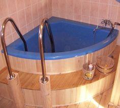 Угловая купель для бани Bathtub, Woodworking, Bathroom, Kindergarten, Standing Bath, Woodwork, Bath Room, Bath Tub, Bathrooms