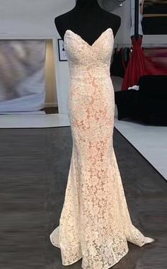 Stunning Pearl Pink Prom Dress - Sweetheart Sweep Train Lace Mermaid with Split,Off the shoulder dress