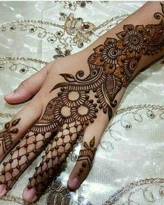 Easy mehndi design for girls hand - mehandi designs - Hand Henna Designs Arabic Henna Designs, Mehndi Designs Book, Full Hand Mehndi Designs, Mehndi Designs 2018, Modern Mehndi Designs, Mehndi Design Pictures, Mehndi Designs For Girls, Mehndi Designs For Fingers, Henna Tattoo Designs