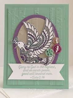 Inkspired Dove of Peace by Heather D Heroldt, Dove of Peace Stamp Set; Mint Macaron, Perfect Plum, Sahara Sand & Whisper White CS; Basic Black Archival, Mint Macaron, Sahara Sand & Perfect Plum Inks; Buttons in Sahara Sand & Perfect Plum; In Color Blossom Accent in Mint Macaron; Woodland Textured Embossing Folder; Ovals Collection Framelits; Occasions Piercing Template (retired.)