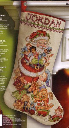 "Cross Stitch Christmas Stocking Kit ""Gifts from Santa"" Ruth Morehead Dolls Toys | eBay"