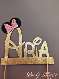 Minnie Mouse Cake Topper, Custom Disney Font Name Cake Topper, Minnie Mouse Personalized Cake Topper, Glitter Cake Topper, Customized by PurdyMays on Etsy