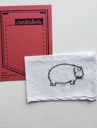 Hand Embroidered Animal Hippopotamus Hanky by wrenbirdarts