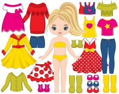 ITEM: Paper Doll Clipart - Vector Dress Doll Clipart, Girl Clipart, Girl Constructor Clipart, Clothes Clipart, Paper Doll Clip Art for Personal and Commercial Use WHAT INC. Clipart Chica, Girl Clipart, Paper Dolls Clothing, Doll Clothes, Paper Dolls Printable, Busy Book, Clothes Crafts, Clips, Cute Dolls