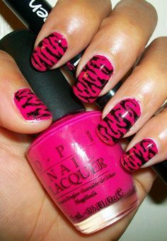 Beautiful pink nail art funky nail art design with pink nail polish - Ladies Fashion Pink Zebra Nails, Zebra Print Nails, Cute Pink Nails, Pink Nail Polish, Pretty Nails, Opi Polish, Pink Manicure, Leopard Nails, Pink Cheetah