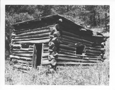An abandoned log homestead or prospector's shack on a drainage just south of Rapid Creek below Pactola Reservoir.