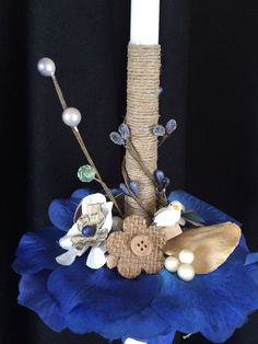 Items similar to Blue Jute, collection 2014 on Etsy Easter Decor, Easter Crafts, Decorated Candles, Palm Sunday, Holidays And Events, Christening, Arts And Crafts, Blanket, Spring