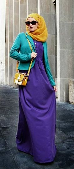 Hijab, love the colors! Hijab Outfit, Hijab Wear, Hijab Look, Hijab Dress, Islamic Fashion, Muslim Fashion, Modest Fashion, Fashion Outfits, Fasion