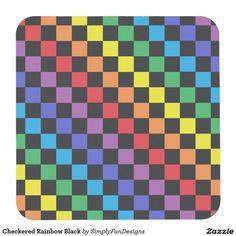 Checkered Rainbow Black Square Paper Coaster